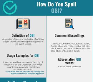 Correct spelling for obi