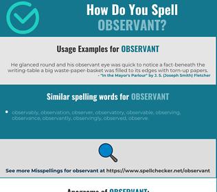 Correct spelling for observant