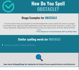 Correct spelling for obstacle