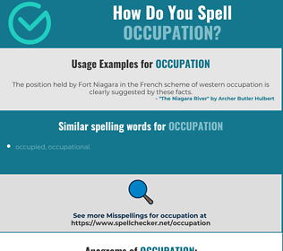Correct spelling for occupation
