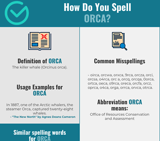 Correct spelling for orca