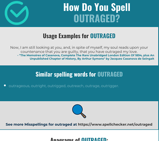 Correct spelling for outraged