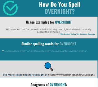 Correct spelling for overnight