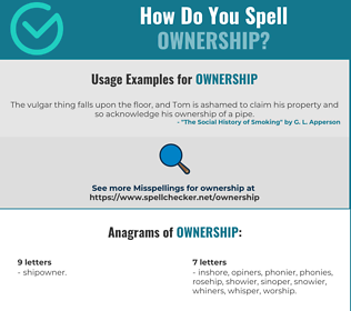 Correct spelling for ownership