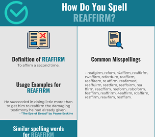 Correct spelling for reaffirm