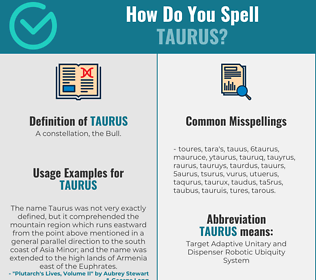 Correct spelling for taurus