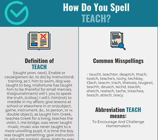 Correct spelling for teach