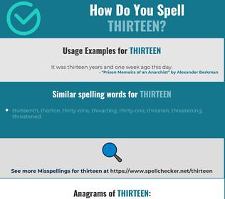 Correct spelling for thirteen