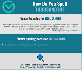 Correct spelling for thousandth