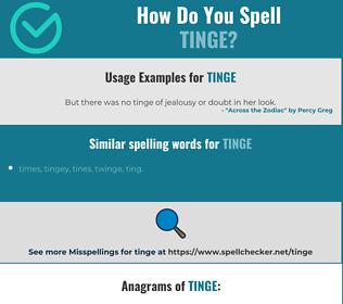 Correct spelling for tinge