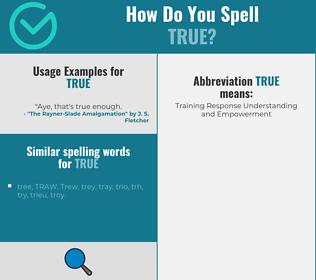 Correct spelling for true