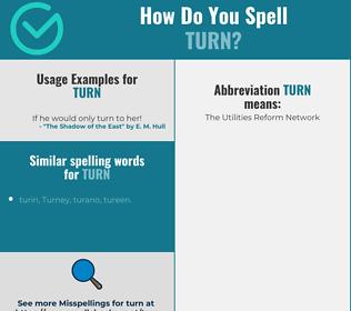 Correct spelling for turn
