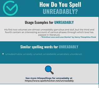 Correct spelling for unreadably