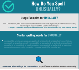 Correct spelling for unusually