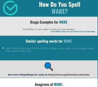 Correct spelling for wake