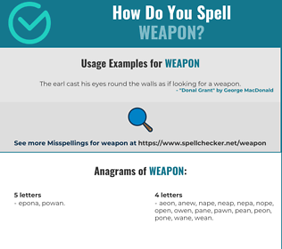 Correct spelling for weapon