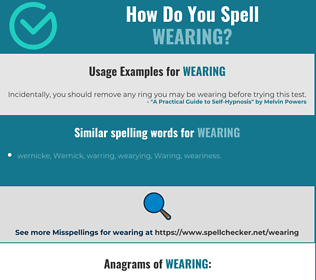 Correct spelling for wearing