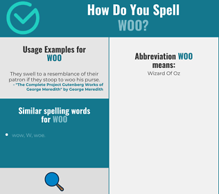 Correct spelling for woo