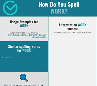 Correct spelling for work