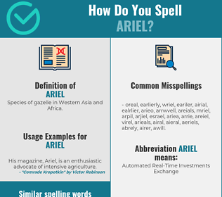 Correct spelling for Ariel