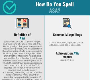 Correct spelling for Asa