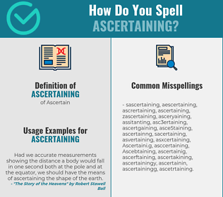 Correct spelling for Ascertaining