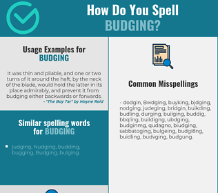 Correct spelling for Budging