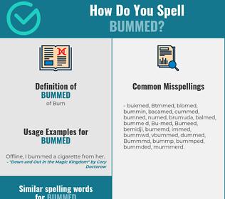 Correct spelling for Bummed