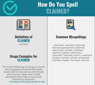 Correct spelling for Claimed