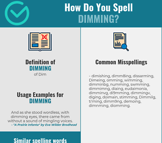 Correct spelling for Dimming