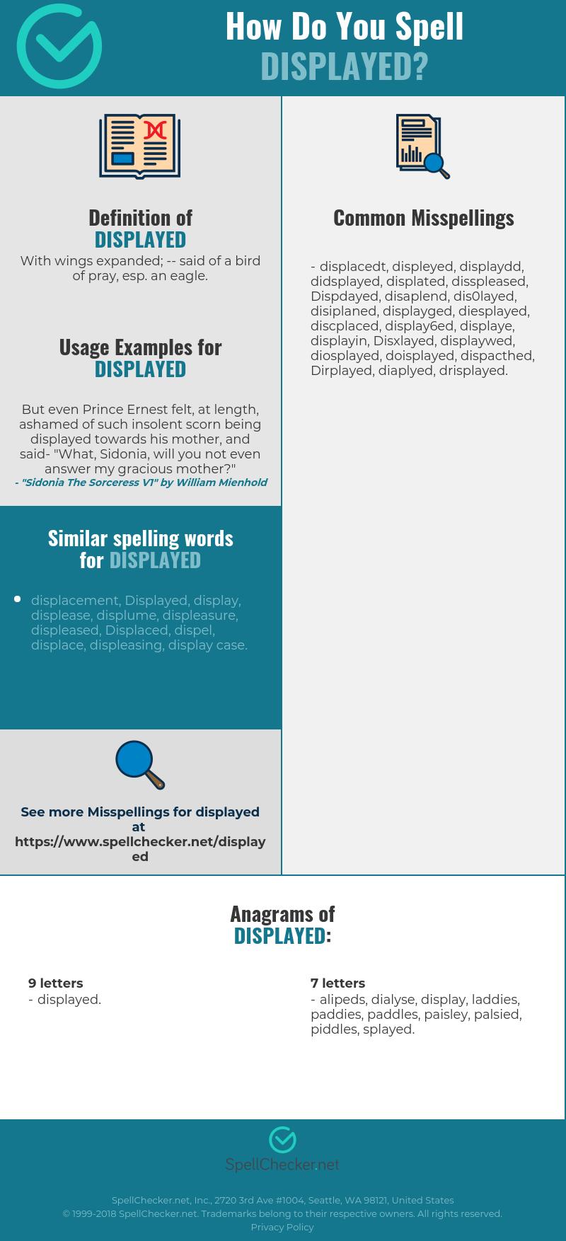 Correct spelling for Displayed [Infographic] | Spellchecker net