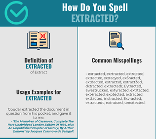 Correct spelling for Extracted