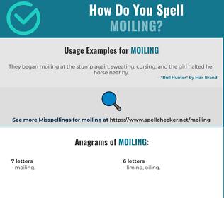 Correct spelling for Moiling