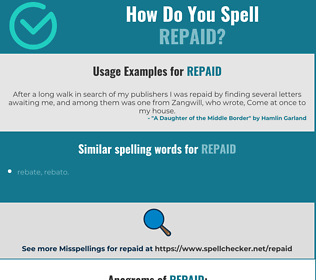Correct spelling for Repaid