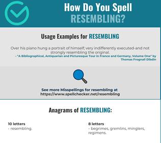 Correct spelling for Resembling