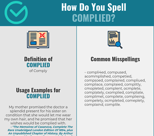 Correct spelling for Complied