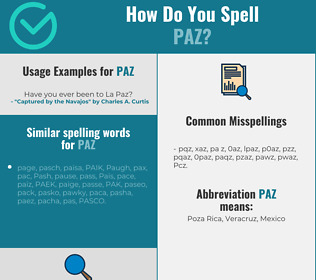 Correct spelling for Paz