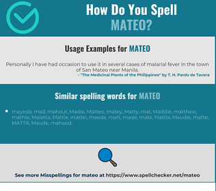 Correct spelling for Mateo