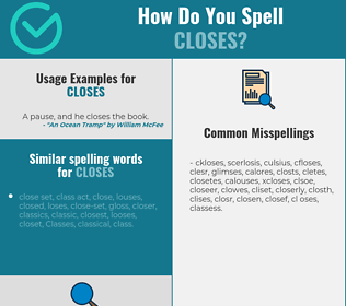 Correct spelling for closes