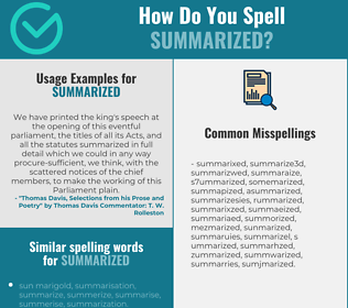 Correct spelling for summarized