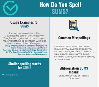 Correct spelling for sums