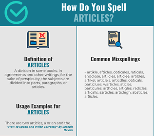 Correct spelling for articles