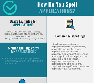 Correct spelling for applications