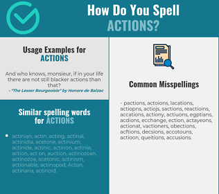 Correct spelling for actions