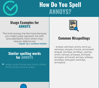 Correct spelling for annoys