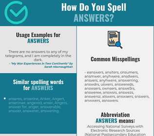 Correct spelling for answers