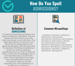 Correct spelling for admissions
