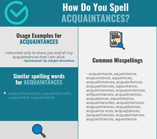 Correct spelling for acquaintances