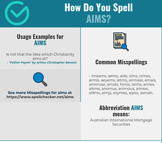 Correct spelling for aims