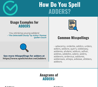 Correct spelling for adders